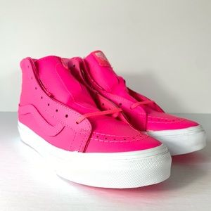 Vans Sk8-Hi SLIM Neon Leather Pink Sneakers